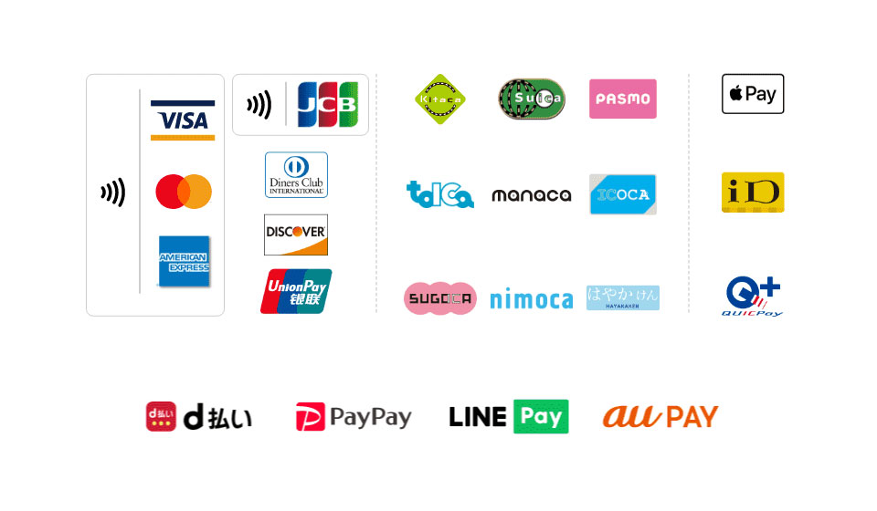 クレジットカード・QRコード・電子マネーに対応ほか